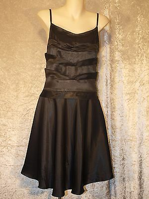 Leaver's Prom Formal Satin 1950's Style Party Dress with Drop Waist Skirt M