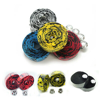1X Bicycle Handlebar Tape Sturdy Wrap Non-Slip + 1X Bar Plugs 5 Color