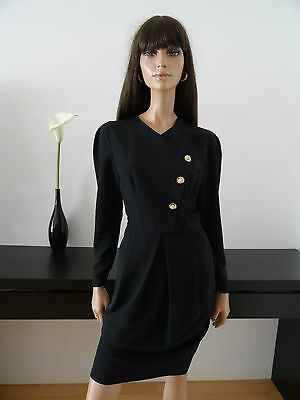 Robe fourreau vintage noire made in France/mad men/taille 38 - dress kleid abito
