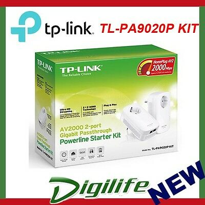 TP-Link TL-PA9020P KIT 2000Mbps 2-Port Gigabit Passthrough Powerline Adapter
