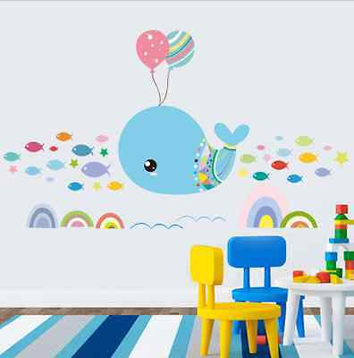 Children Bedroom Cartoon Stickers Whale Decoration Waterproof Stickers
