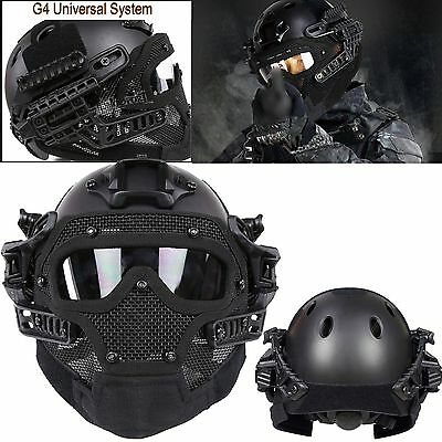 Black Airsoft Fast Helmet Paintball All-round Protection Mask Goggles& G4 System