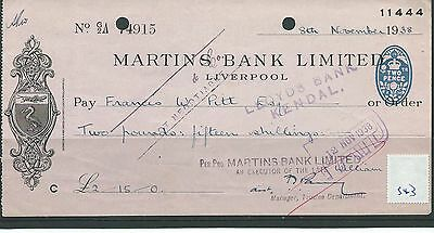 wbc. - CHEQUE - CH543- USED -1938- MARTINS BANK, LIVERPOOL