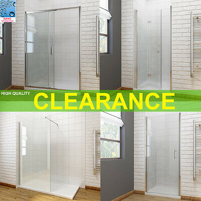 Bathroom Bi fold Sliding Pivot Shower Doors Enclosure Frameless 6mm/8mm Glass
