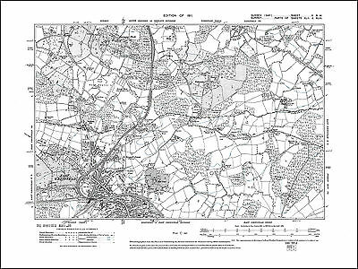 East Grinstead north, old map Sussex 1911: 5NW repro