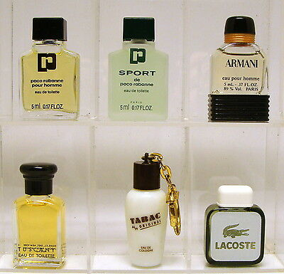 Collection 6 men's mini perfumes Armani, Paco Rabanne, Lacoste, Tuscany, Tabac