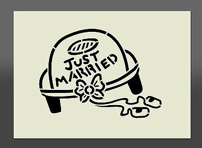 "Wedding Car ""Just Married"" Stencil - Wall Art, Airbrushing, Crafts, Wall Decor"