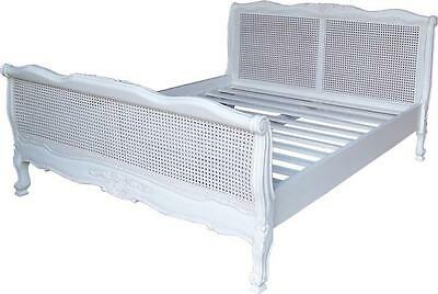 "French Louis Rattan Bed in Antique White 4'6"" Double Solid Mahogany NEW B007P"
