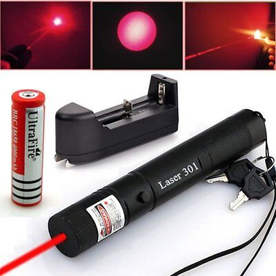 Military Red Laser Pointer Pen 301 650nm Burning High Power 5mw+18650+Charger