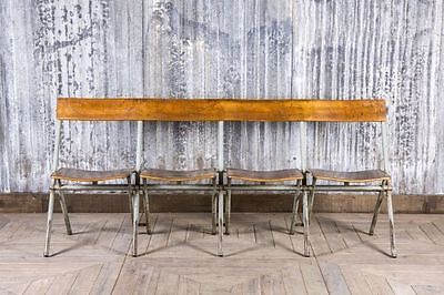 Vintage Folding Four Seater Benches Industrial Restaurant Seating