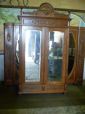 pretty country oak carved French armoire,wardrobe,mirror doors,flat packs.