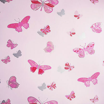 RED PINK WHITE GREY BUTTERFLY BUTTERFLIE FEATURE WALLPAPER A.S CREATION 30289-2