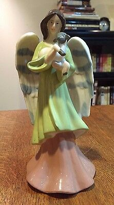 "Angel with Lamb Ceramic Figurine - 8 1/4"" - Unmarked - Christmas"