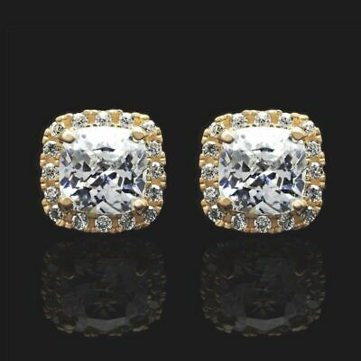 14K Yellow Gold 1.85Ct Cushion Created Diamond Halo Stud Earrings 7mm
