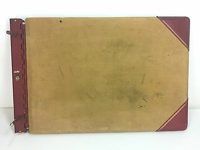 Vtg Sectional Post Binder National USA Made Accounting Ledger Canvas Leather