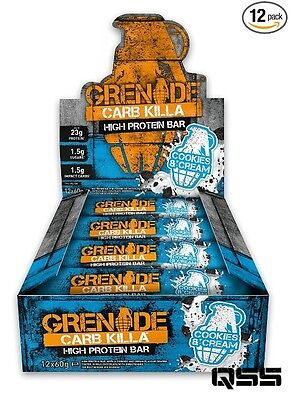 GRENADE CARB KILLA 12x60g BARS HIGH PROTEIN, LOW CARBS & LOW SUGAR, GMO FREE