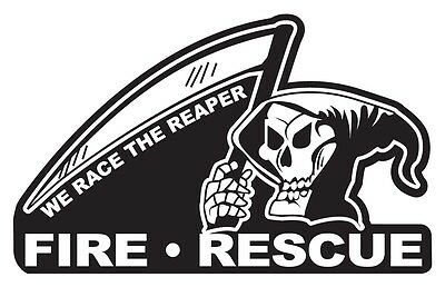 Fire Rescue We Race The Reaper Small Reflective Black Decal Sticker