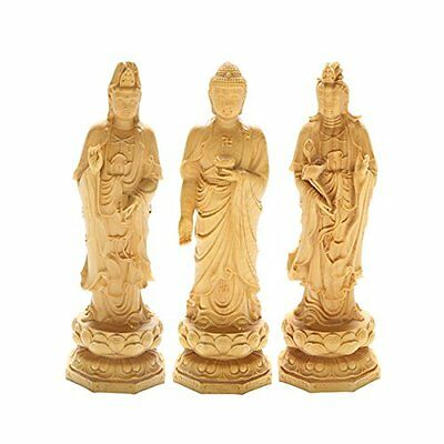 Feng wooden statue western three precious Buddha set carving points boxwood 20CM