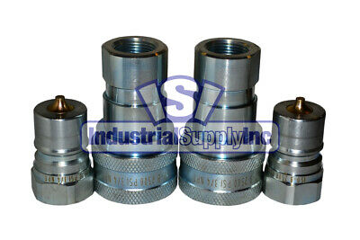 """2 Sets 3/4"""" ISO-B Hydraulic Hose Quick Disconnect Couplers"""