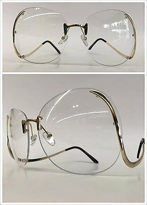 OVERSIZE VINTAGE RETRO Style SUNGLASSES Upside Down Gold Frame Clear Lens