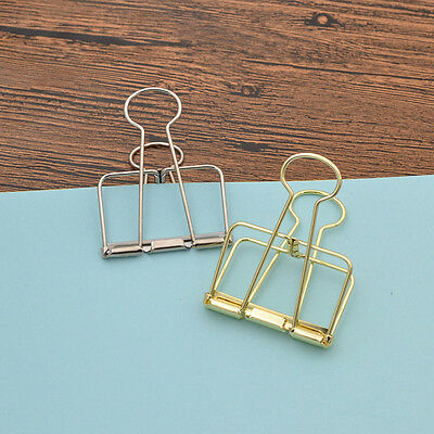 2 Pcs Big Size Hollow Out Metal Binder Clips Clip Files Paper Stationary Random