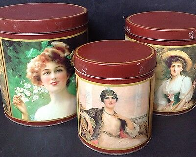 Vintage Set Of 3 Nesting Tins Canisters Kitchenalia Art Painting Classic Women