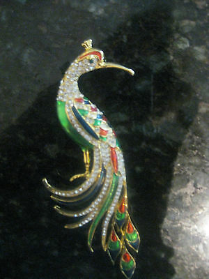Lovely Vintage Extra Large Colorful Peacock Brooch/pin Unsigned