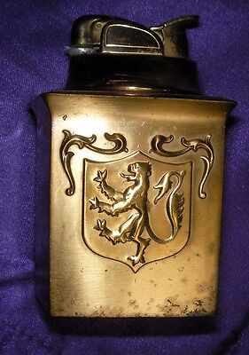 Rare Vintage Table Lighter Lion Rampant Coat of Arms Scottish English Belgium