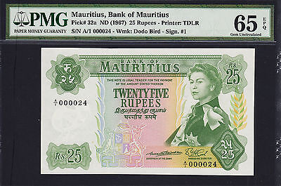 Mauritius 25 Rupees 1967 Pick-32a LOW Serial A/1 000024 GEM UNC PMG 65 EPQ
