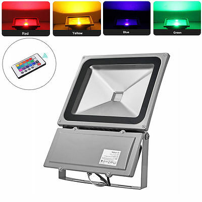 100W RGB LED Flood Spot Lights Outdoor 16 Color Changing Garden Waterproof Lamp