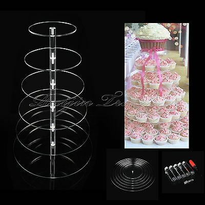 6 Tier Quality Clear Acrylic Round Cake Stand Cupcake Wedding Plate Tea Party UK