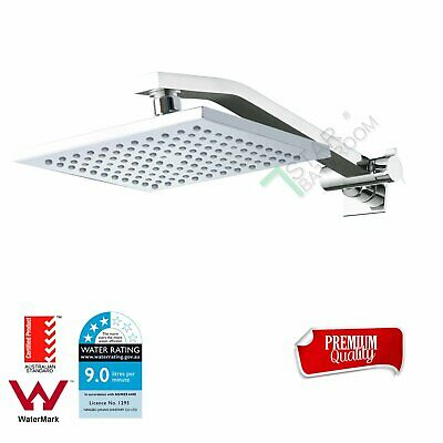 WELS 8'' Square Rain Shower Head Rose Up Down Adjustable Wall Arm Set Chrome