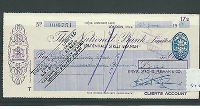 wbc. - CHEQUE - CH572- USED -1956- NATIONAL BANK , LEADENHALL St. LONDON WC2
