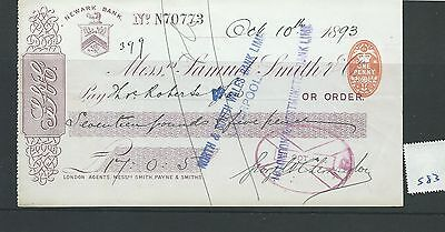 wbc. - CHEQUE - CH583- USED -1893- SAMUEL SMITH & CO. NEWARK BANK