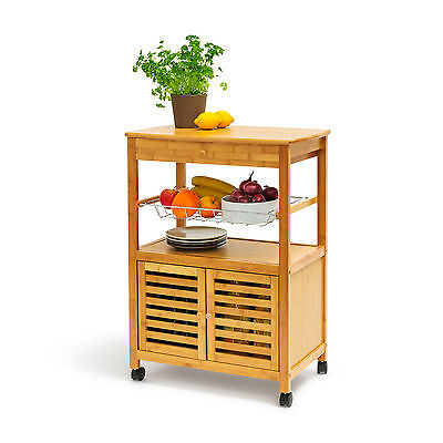 JAMES XL Kitchen Island Trolley Serving Cart w/ Wheels, Bamboo Rolling Table