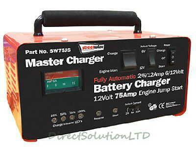 6 / 12Volt 12 Amp Battery Charger & 75 Amp Engine Starter Jump Start Fast Charge