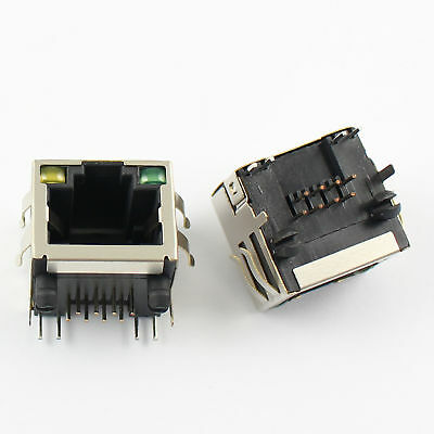 5Pcs RJ45 8P8C 8 Pin Shielded PCB Mount Network Socket Connector With LED
