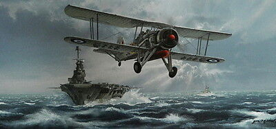 Fight Against The Bismarck Print by Philip West Fairey Swordfish HMS Ark Royal