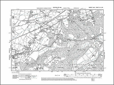 Horsham E, Roffey, Colgate, old map Sussex 1913: 14NW repro