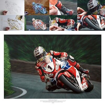 John McGuinness 2015 Isle of Man Senior TT oil painting fine art print by Billy
