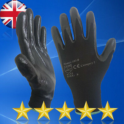 24 Pairs New Nitrile Coated Work Gloves Builders Construction Gardening Grip