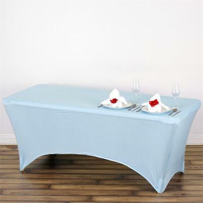 Serenity Blue 6 ft RECTANGLE SPANDEX STRETCH TABLE COVER Fitted Tablecloth