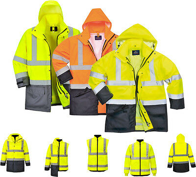 Portwest S768 Mens Jacket Waterproof 5 in 1 Hi Vis Multi-Functional Rain Coat