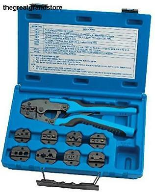 Quick Change Ratcheting Terminal Crimping Kit w/ 9 Die Sets S&G Tool Aid Auto