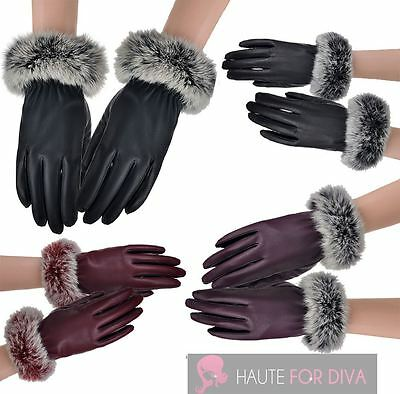 New Ladies One Size Fluffy Real Rabbit Fur Cuffs Leather Lining Gloves
