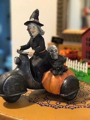 Witch Driving a Motorcycle Figurine Sculpture Vintage Style Primitive Halloween