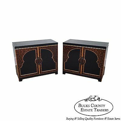 Widdicomb Pair of Black & Gold Faux Painted Cabinets Chests