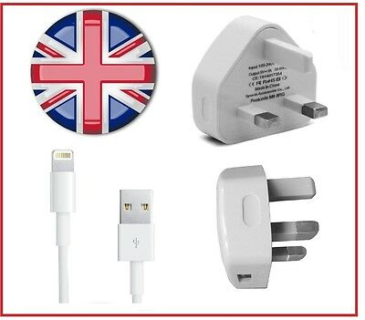 Mains Charger USB Wall Plug / Charging Data Cable For Apple iPhone 6s 5 iPad UK