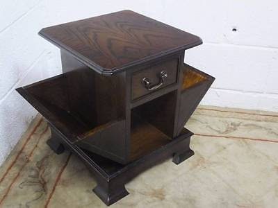 1970's OAK CANTERBURY TABLE MAGAZINE RACK / STAND With a DRAWER