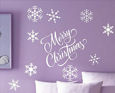 MERRY CHRISTMAS vinyl Quote Snowflakes winter holiday decal sticker wall art MS3